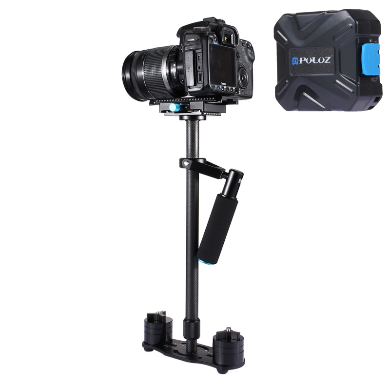 DHL Free PULUZ S60T Max 2.5kg 60cm Carbon Fiber Handheld Stabilizer Steadicam for Camcorder Camera Video DSLR Carbon Fiber puluz mini handheld stabilizer carbon fiber steadicam for dslr video camera portable light steady cam better than s40 s60t