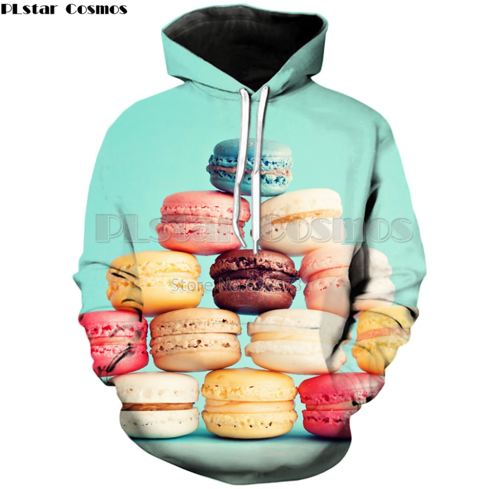 PLstar Cosmos 2018 New style Fashion Hoodies Mens Womens Hooded sweatshirt Dessert Macaron 3d Print casual Pullovers ZH406
