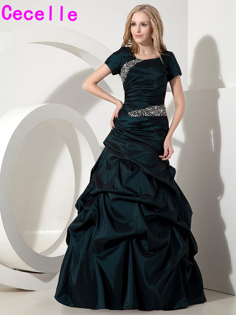 2019 Modest Dark Green Long   Prom     Dresses   Gowns With Sleeves For Women A-line Beaded Crystals Taffeta Teens Vintage   Prom   Gowns