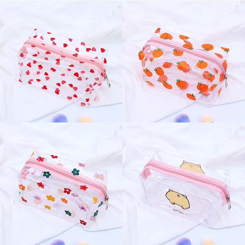 Transparent Large Capacity Peach Pig Pencil Case For Girls Cute Flower Cosmetic Bag Stationery Pouch School Office Supplies