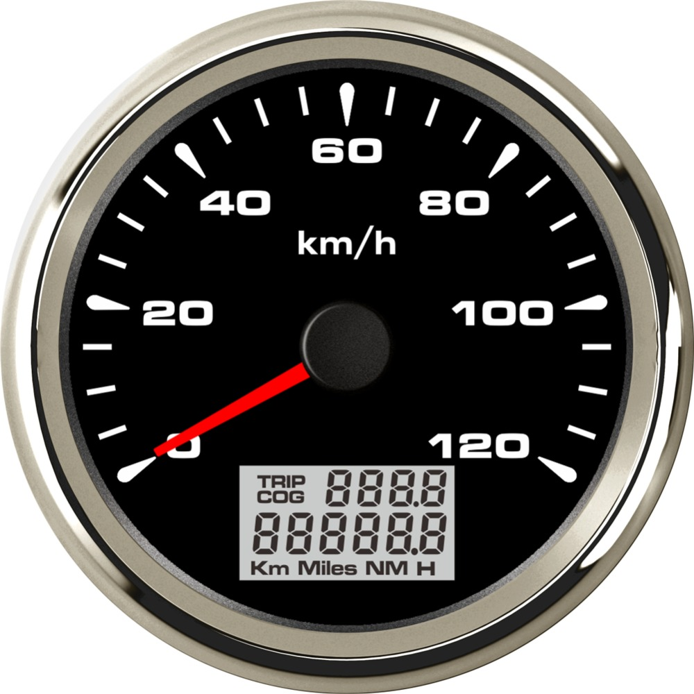1pc New Arrival 85mm 0-120km/h GPS Speedometer Lcd Speed Odometer Trip Meter 9-32v Waterproof Gauges for Auto 8 Kinds Backlight 1pc brand new auto tuning gauges 85mm gps speedometers 0 200km h lcd speed indicators with red backlight and antenna for sale