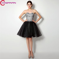 2018 Gorgeous Exquisite Short Style Graduation Dresses Sexy Lace Up Back Strapless Tulle A line Beaded Crystals Party Gowns