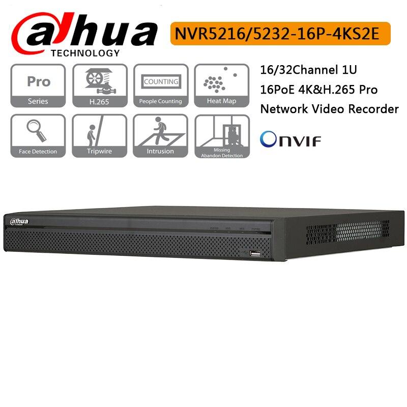 US $338 0 20% OFF|Original Dahua 16CH 32CH NVR5216 16P 4KS2E NVR5232 16P  4KS2E 16 PoE H 265 Pro Network Video Recorder Up to 12MP Motion  Detection-in