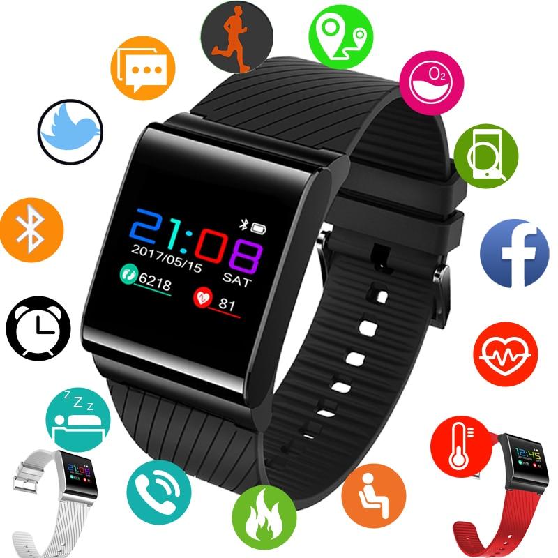 WISHDOIT Bracelets Bande À Puce Couleur LCD Écran Remise En Forme Bracelet IP68 Étanche Intelligent Bande de Fréquence Cardiaque IOS Android Téléphone Montres