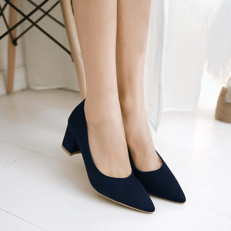 ФОТО New Elegant Women Pumps Flock Pointed Toe Square Heels Pumps Blue Black Wine Red Popular Shoes Woman US Size 4-10.5