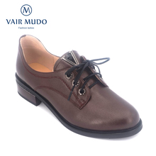 VAIR MUDO Genuine Leather Women Shoes Handmade Lace-up Round Toe thick Heel Leisure Comfortable Soft Office Lady Shoes D2 цена 2017