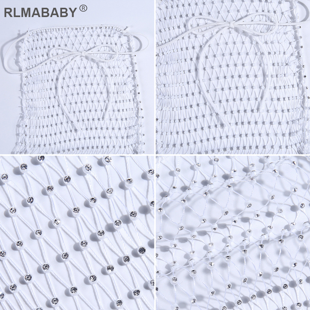RLMABABY Sexy Mesh Crystal Rhinestone Crop Top And Skirt Women Set Halter Backless Hollow Two Piece Set Diamond Beach Summer Set