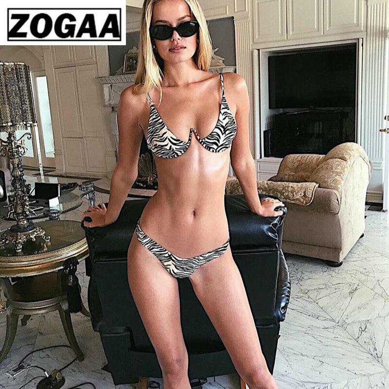 ZOGGA Sexy Leopard Print Women Brace Steel Strap Bikini High-quality 100% Nylon No Wrinkle/fade/shrink Two Piece Set for Women Price $15.84