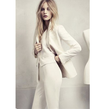 Custom Made White Women Ladies Fashion Office Business Tuxedos Jacket+Pants New Women Pant Suits