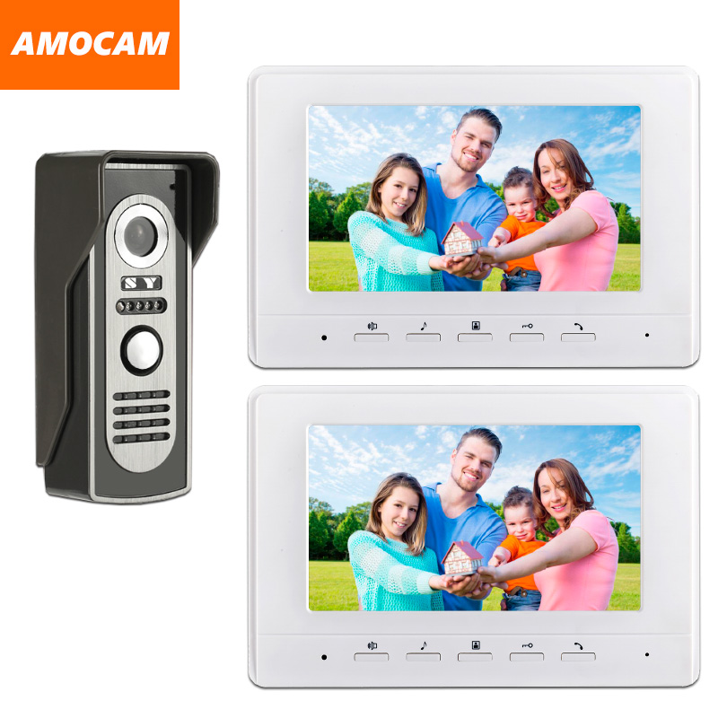 7 Monitor Video Doorbell Door Phone Kit IR Night Vision Aluminum Alloy Door Camera Video Intercom interphone System 2-Screen