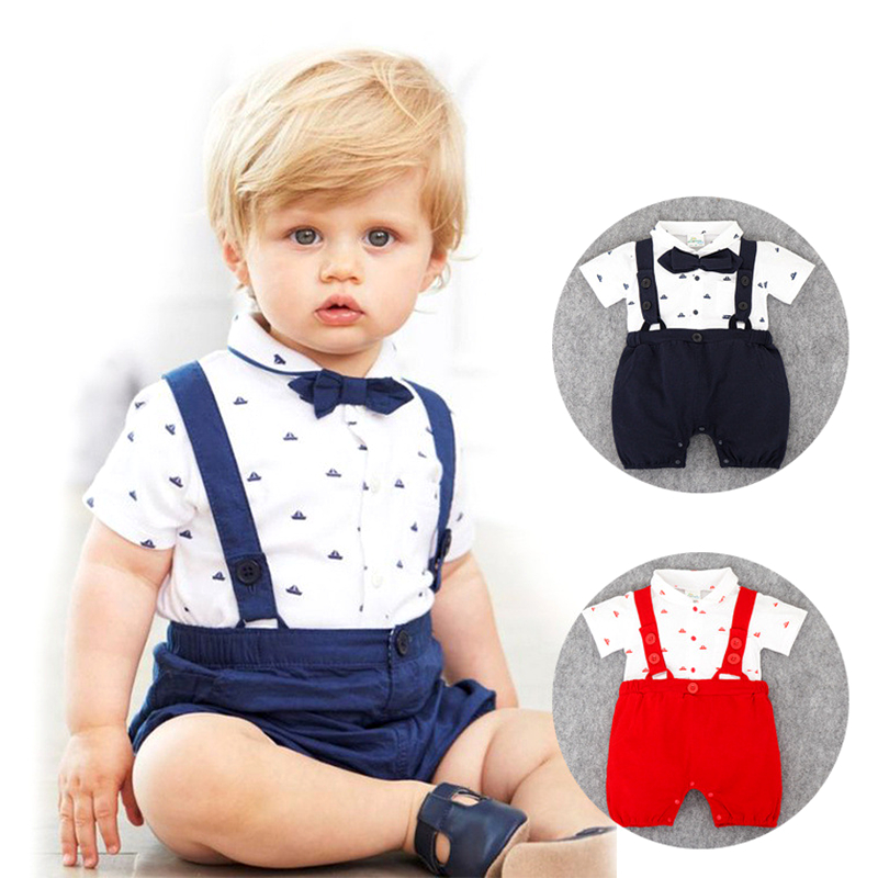 Baby Rompers Cotton Short Sleeve Toddler Clothing Kids Gentleman Casual Suit With Bow Tie Infant Jumpsuits Newborn Boys Clothes cotton baby rompers set newborn clothes baby clothing boys girls cartoon jumpsuits long sleeve overalls coveralls autumn winter