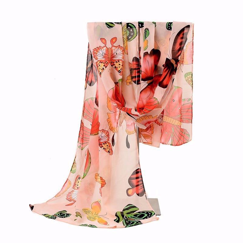 2018 Nova Moda Ženske Ženske Zimske klasične Butterfly Natisni Šali Šal Šal Šal Šifon Mehko Dolg Šal Velikost160 * 45cm