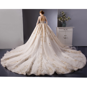Image 2 - SL 6103 Gold Lace luxury long sleeves ball gown wedding dress bridal dresses wedding gowns royal train