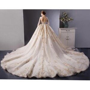 Image 2 - SL 6103 rendas de ouro de luxo mangas compridas vestido de baile vestido de casamento vestidos de noiva vestidos de noiva trem real