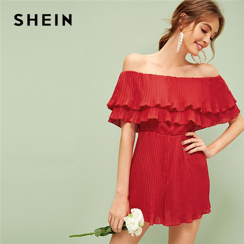 SHEIN Off Shoulder Ruffle Overlay Pleated Rompers Womens   Jumpsuit   Red High Waist Wide Leg   Jumpsuit   Sexy Summer Romper Palysuit