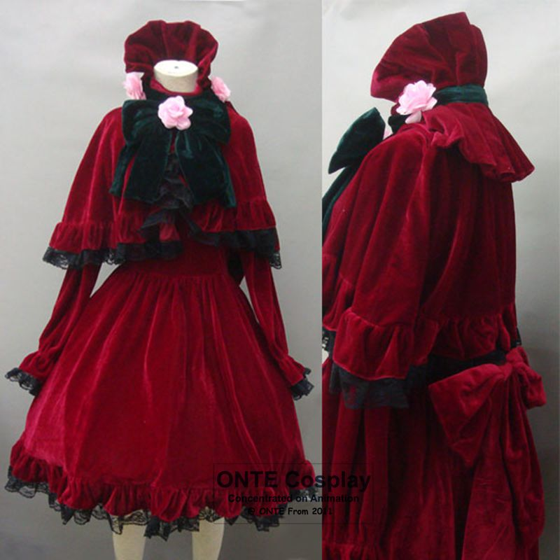 Anime Rozen Maiden Shinku Cosplay Costumes Pure Ruby Women Fancy Dress  Party Red Clothing Reiner Rubin Cape Halloween Costumes 2cd367e9364e