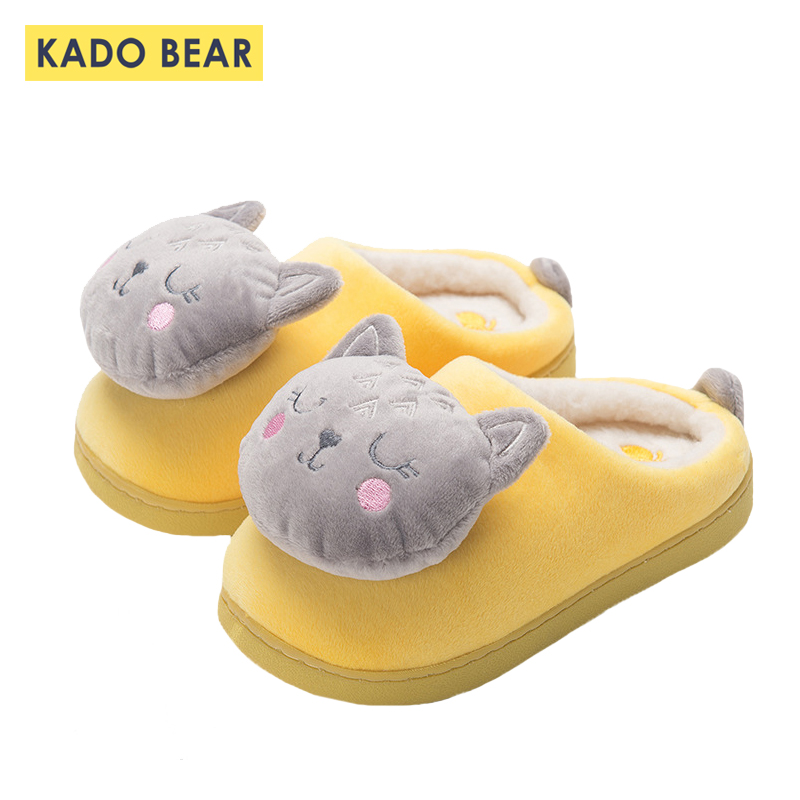 Children Fur Plush Indoor Slippers Kids Winter Home Flat