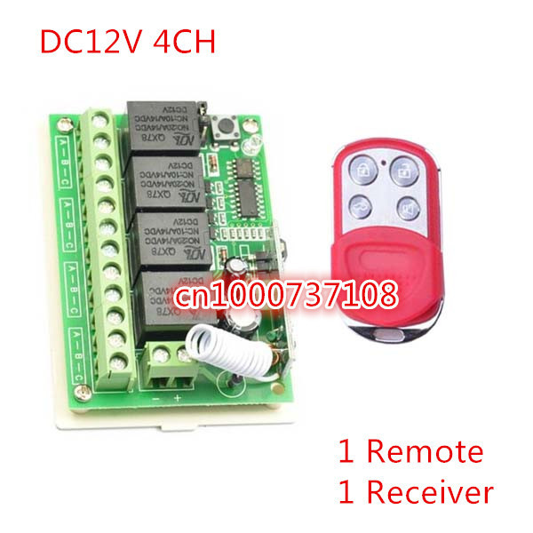 DC12V 10A 4 ch remote control light switch 315M /433M RF relay switch Waterproof metal 4 buttons remote M4/L4/T4 adjust 315 433mhz 12v 2ch remote control light on off switch 3transmitter 1receiver momentary toggle latched with relay indicator