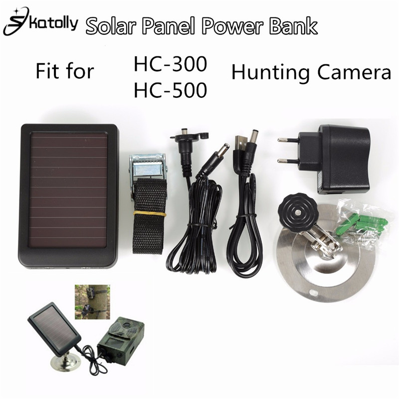 Skatolly 1500mAh Solar Panel Charger EU/US Plug Battery Power Bank for SUNTEK Hunting Cameras HC300M HC500M Scouting Camera