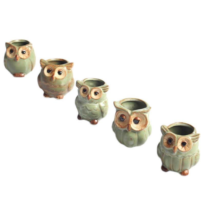Cartoon Gufo A Forma di Pianta Grassa Stili Consegna Piante In Vaso di Ceramica Vaso di Fiori Decorazione Della Casa Casuale
