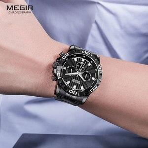Image 5 - MEGIR montre daffaires à Quartz pour hommes, en acier inoxydable, chronographe étanche lumineux, horloge noire, 2087