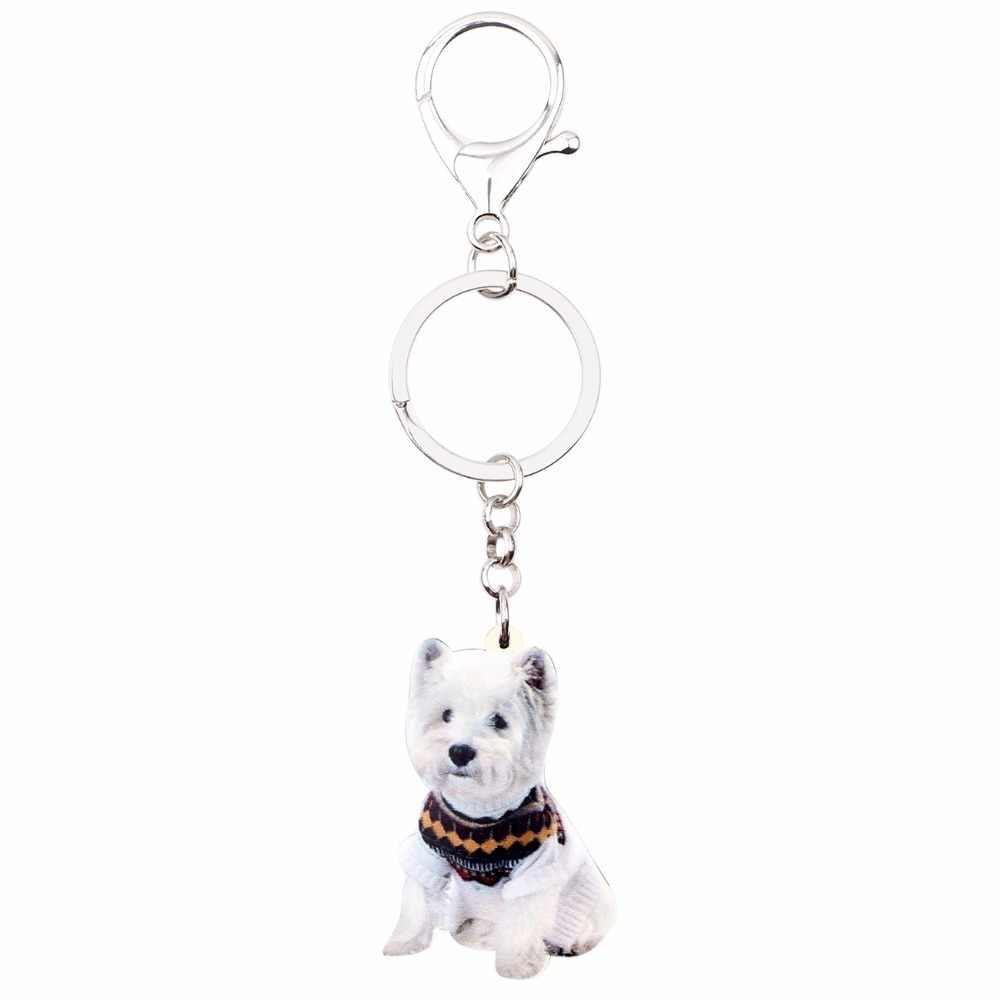 Bonsny акриловые милые западные хайленды Терри брелки с собаками брелок кольцо Модные украшения в виде животных для женщин девочек Сумка автомобильные подвески