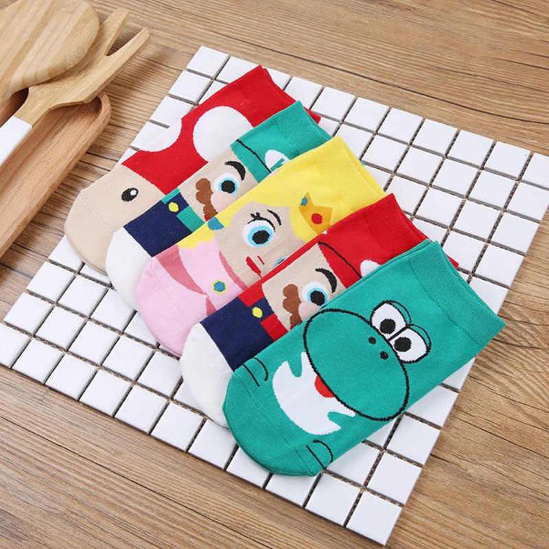1 çift Anime Mario Bros Karikatür Çocuk Çorap Figürü Oyuncak Süper Mario Prenses Cosplay Çorap Çocuk doğum günü hediyesi Oyuncak
