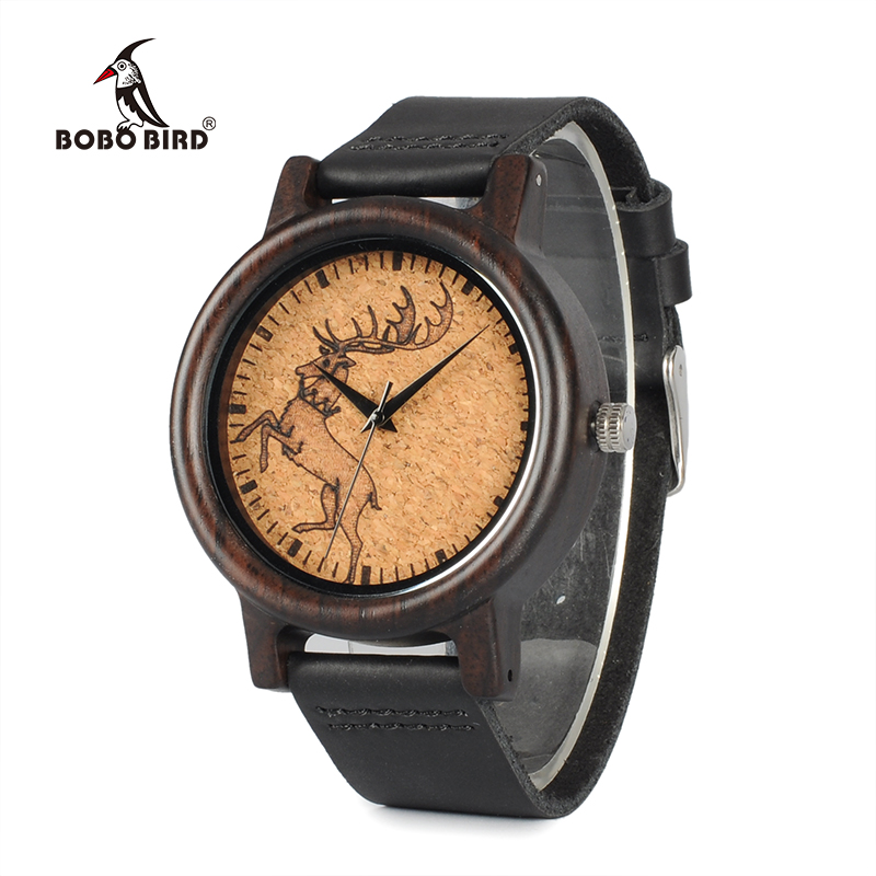 BOBO BIRD WN04N05N06 Ebony Wooden Watches Elk Wolf Head Luxury Black Cool Quartz Male Watch with