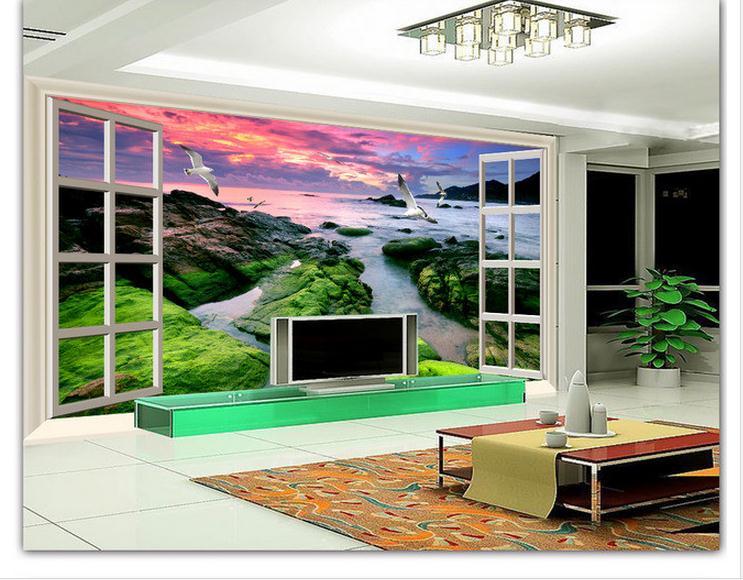 Индивидуальные 3d обои 3d настенные фрески океан пейзаж за окном 3 д тв установка стены красоты mural обои номер