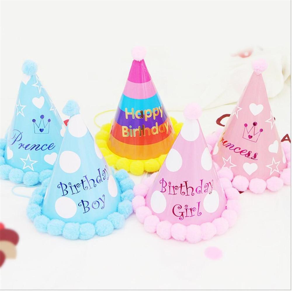 Boy Blue Gold First Birthday Hat Glitter Girl Gold Pink Princess Crown Party Baby Shower Decor Headband Cartoon Hat