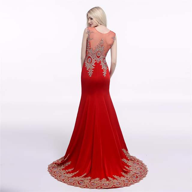Red Royal Blue Sexy Long Prom Dress 2018 Mermaid Sheer Back Gold Lace  Appliques Formal Party 7c305e4f2c36