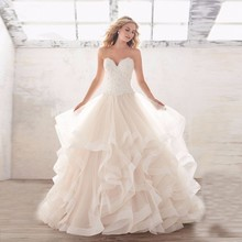 Ruffles Long Wedding Dresses 2017 vestido de noiva Appliques Lace Tiered Bridal Wedding Gowns Bride Dress Custom Made Dress