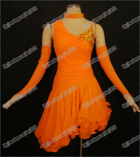 ORANGE LATIN DANCE DRESS,SALSA,TANGO,BALLROOM DANCE DRESS, GIRLS,LADY,DANCER.WOMAN,PERFORM COSTUMES DANCEWEAL,HIGH QIALUTYL-0049