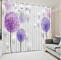 purple Dandelion Luxury Blackout 3D Window Curtains For Living Room Bedroom Blackout curtain