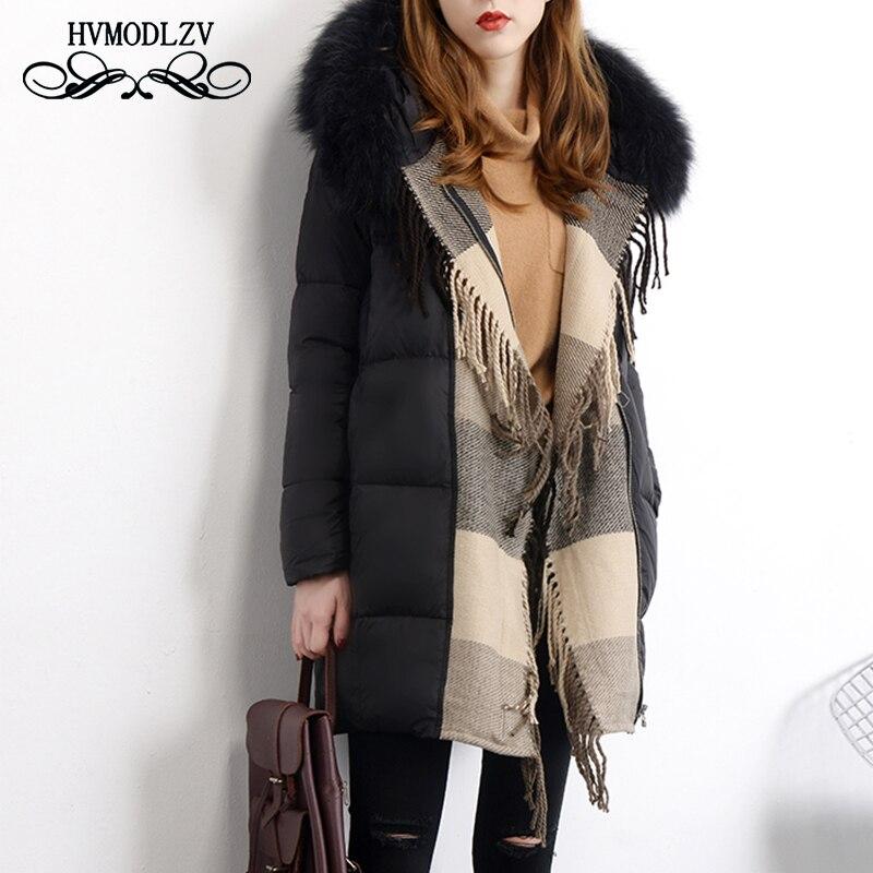Plus size Down jacket women chamarras de mujer 2018 Winter Long Hooded Keep warm Top White duck down coat Female parka