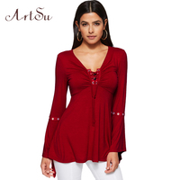 ArtSu Casual Long Flare Sleeve T Shirt Women Spring 2018 Ruffle Tops Tees Solid Lace Up