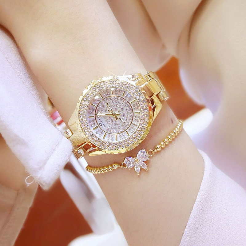 Women Crystal Quartz Bracelet Watch Gold Silver  Iced Out Wrist Watches With Rhinestone Hair Bow Fashion Jewelry Gift For Girls