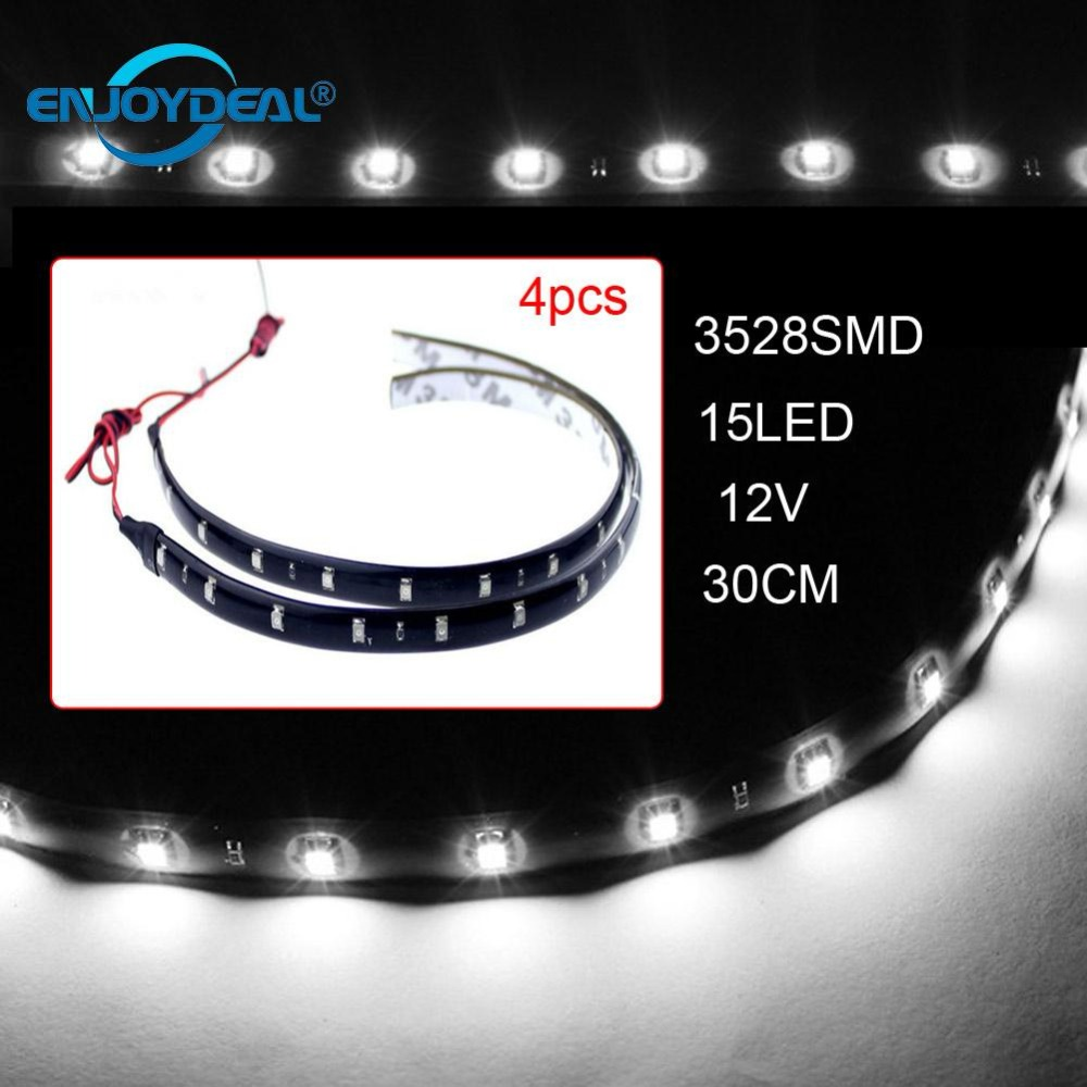 4pcs RGB Led Bar Strip 30cm 3528 SMD 15 LED Flexible Strip Lights 12V Car Auto Truck Led Strip Light Waterproof Decor Lighting