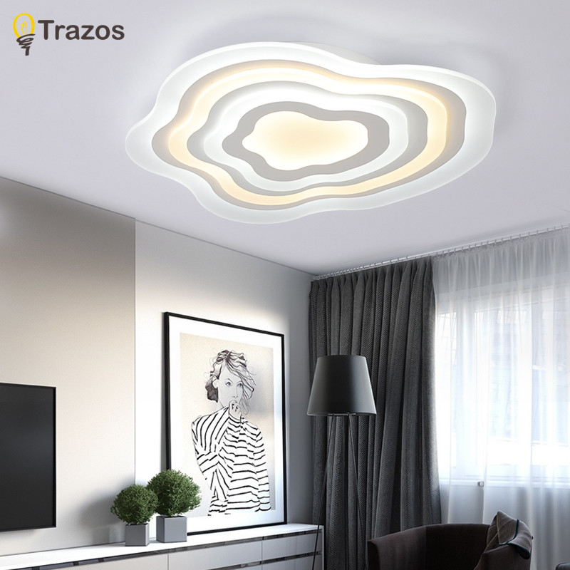 цена на 2018 Trazos Ultra-thin Surface Mounted Modern Led Ceiling Lights lamparas de techo Rectangle acrylic Ceiling lamp fixtures