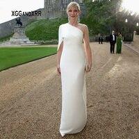 Элегантное Белое Атласное Вечернее платье со шлейфом Плиссированное длинное вечернее платье длиной до пола с одним плечом vestido de festa