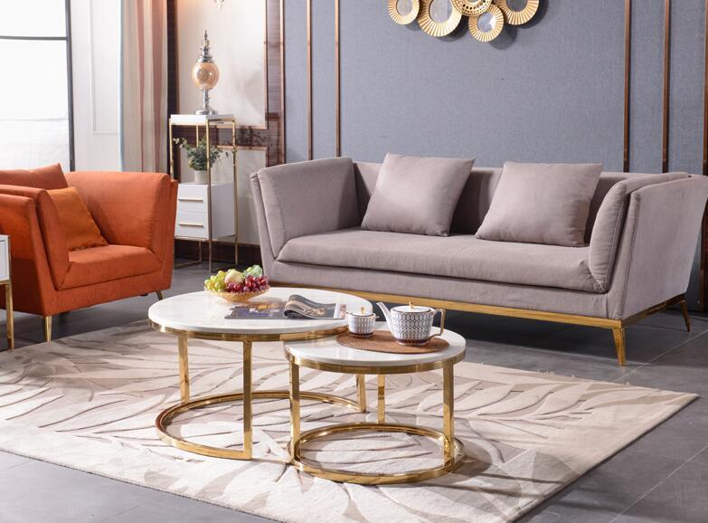 Table à thé ronde en marbre de salon en acier inoxydable léger Postmodern bord doré à Port nordique