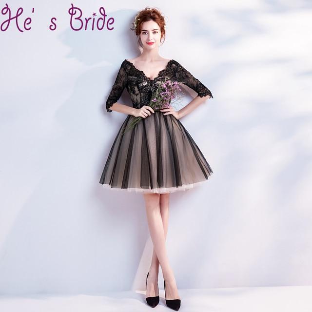 bae5c554c0 Vesta De Festa Elegant Black V Neck Half Sleeves Lace Up Back Ball Gown  Short Mini Tulle Lace Simple Party Prom Cocktail Dress