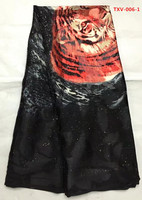 Black Flocking Silk Velvet With Red Tiger Pattern African Fabric Arabia Style 5yards Pcs For Sewing