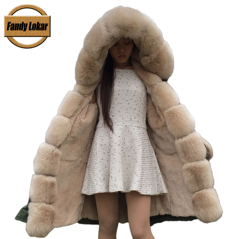 FL Brand 2016 Real Rex Rabbit Fur American Military Parka with Hood Long Women Cmouflage Army