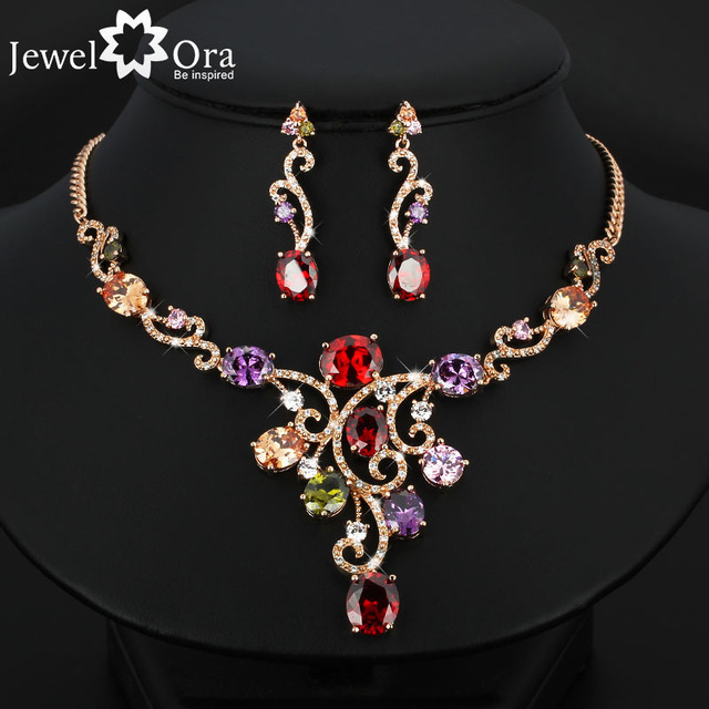 Luxurious Grandeur Multicolor Crystal Gold Color  Jewelry Sets For Women  Fashion Party Accessories (JewelOra JS100518)