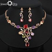 Grandeza de lujo multicolor cristal plateó sistemas de la joyería para las mujeres accesorios de moda partido (jewelora js100518)