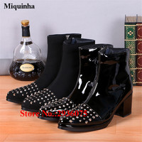 Rivets Studded Embellished Black Patent Leather Mens Motorcycle Boots Block Heels Side Zip Ankle Boots Fashion