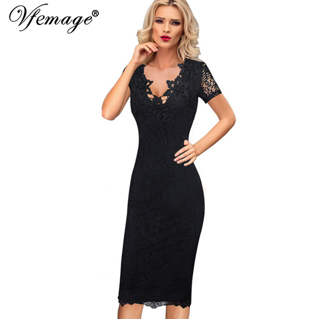 Vfemage Women Sexy Elegant 3D Crochet Flower Lace Party Evening Mother of  Bride Work Casual Special Occasion Bodycon Dress 4686 1851ed32b2b7