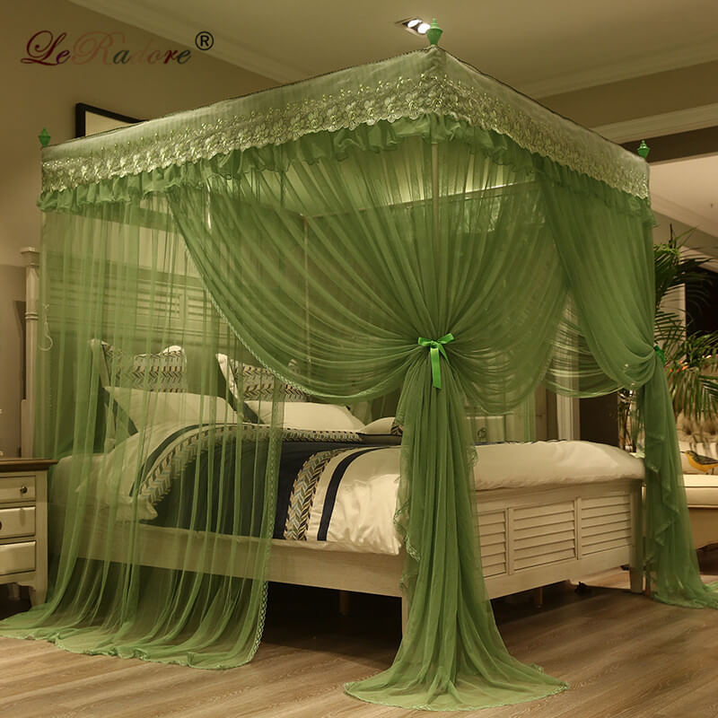 LeRadore Luxury Princess Style Mosquito Nets for Bed Thickened Steeless Stents Insect Ne ...