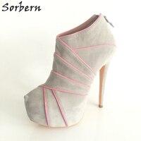 Sorbern Versteckte Plattform Stiefel Ankle Frauen Stiefel Licht Grau Winter High Heels Weibliche Stiefel Plus Größe 4-15 Benutzerdefinierte farben